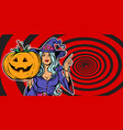 witch with halloween pumpkin announce party vector image vector image