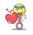 with heart rattle toy mascot cartoon vector image