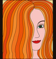 womans face with ginger hair vector image