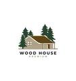 wood house logo vector image vector image