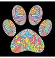 animal paw print on black background vector image vector image