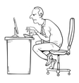 bad sitting posture as reason for office vector image vector image