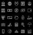 Banking line icons on black background vector image vector image