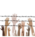 barbed wire with hands on theme vector image