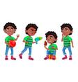 black afro american boy kindergarten kid vector image vector image