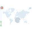 blue world map with magnifying on burundi vector image vector image
