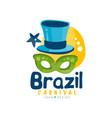 brazilian carnival logo design bright festive vector image vector image