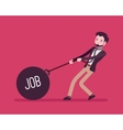 Businessman dragging a weight Job on chain vector image vector image