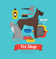 cartoon domestic pet shop banner vector image vector image