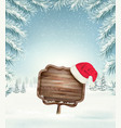 christmas holiday background with wooden sign and vector image