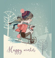 cute girl on sleigh vector image vector image