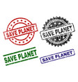 damaged textured save planet stamp seals vector image vector image