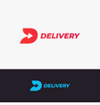 delivery logo design letter d with arrow vector image vector image