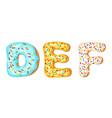 donut icing upper latters - d e f font vector image