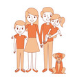 family together parents with daughter son and dog vector image vector image