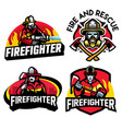 firefighter badge design set vector image vector image