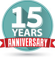 Flat design 15 years anniversary label with red vector image vector image