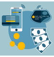 flat design of mobile paymentcredit card and vector image vector image