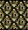 floral vintage gold 3d damask seamless pattern vector image vector image