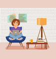 freelancer happy young woman working on the arm vector image vector image