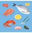 Fresh organic seafood vector image