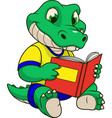 funny crocodile reads a book vector image vector image