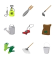 Garden items icons set cartoon style vector image vector image