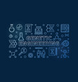 genetic engineering blue outline vector image vector image