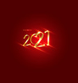 golden 2021 new year 3d logo with copy space vector image