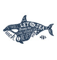 hand drawn lettering in killer whale silhouette vector image vector image