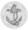Hand drawn of an anchor and rope vector image vector image