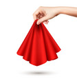 hand holding cloth realistic vector image vector image