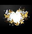 heart with gold butterflies vector image vector image