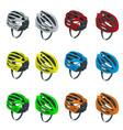 isometric bicycle helmets icons set bike helmet vector image vector image