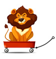 Lion sitting on the red cart vector image vector image