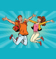 love couple young man and woman jumping vector image