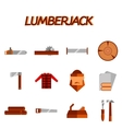 Lumberjack flat icon set