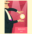 magician man in black suit doing trick with magic vector image