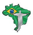 Map of Brazil with flag and statue of Jesus Christ vector image vector image