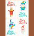 merry christmas bear and bird vector image vector image
