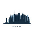 new york skyline monochrome silhouette vector image vector image