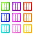 office folder icons set 9 color collection vector image vector image