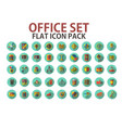 office set flat icon with long shadows business vector image vector image