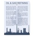 Oil and gas refinery or chemical plant silhouette vector image