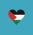 palestine flag icon in a heart shape in flat vector image vector image