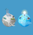 pollution planet problem pollution vs clean earth vector image vector image