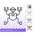 robot humanoid simple black line icon vector image