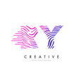 ry r y zebra lines letter logo design with vector image