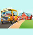 school kids getting off the school bus vector image vector image