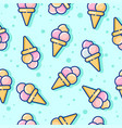 seamless pattern ice cream green vector image